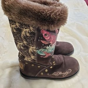 Ed Hardy Suede Boots Faux Fur Line - Size 7